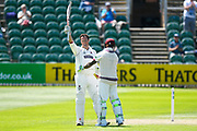 Club record 100 for Marcus Trescothick - Marcus Trescothick of Somerset celebrates scoring a century which is his 50th for Somerset, breaking the club record during the Specsavers County Champ Div 1 match between Somerset County Cricket Club and Warwickshire County Cricket Club at the Cooper Associates County Ground, Taunton, United Kingdom on 22 May 2017. Photo by Graham Hunt.