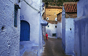 Typical white-blue painted streets of the Rif mountain town of Chouen, or Chefchouen