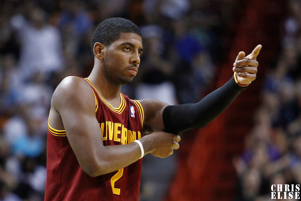24 January 2012: Cleveland Cavaliers point guard Kyrie Irving (2) is seen during the Miami Heat 92-85 victory over the Cleveland Cavaliers at the AmericanAirlines Arena, Miami, Florida, USA.