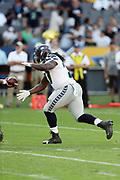 Seattle Seahawks running back Eddie Lacy (27) takes a handoff during the 2017 NFL week 1 preseason football game against the against the Los Angeles Chargers, Sunday, Aug. 13, 2017 in Carson, Calif. The Seahawks won the game 48-17. (©Paul Anthony Spinelli)