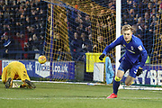 AFC Wimbledon striker Joe Pigott (39) celebrating after scoring goal to make it 2-0 during the EFL Sky Bet League 1 match between AFC Wimbledon and Blackpool at the Cherry Red Records Stadium, Kingston, England on 20 January 2018. Photo by Matthew Redman.