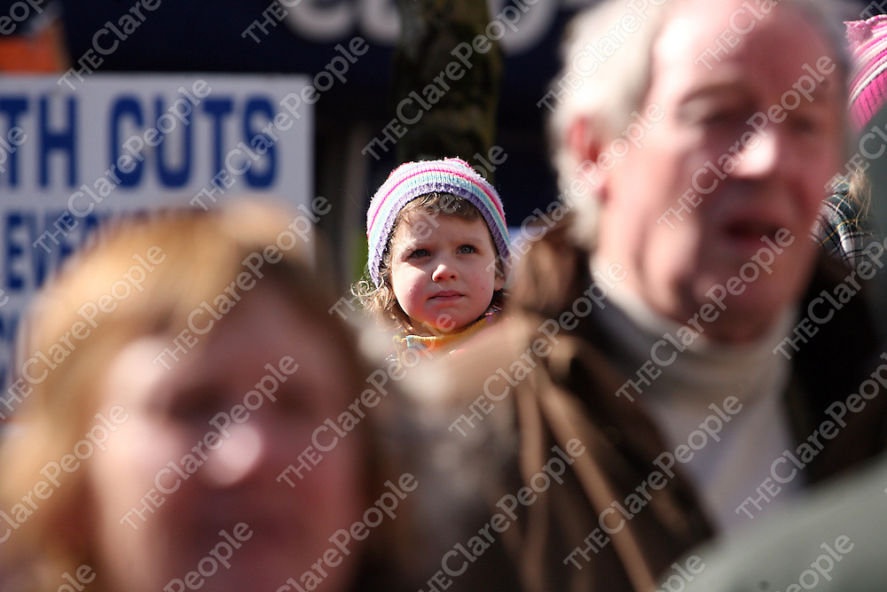 A young supporter attending the hospital protest rally in Ennis on Satruday.<br /> Photograph by Yvonne Vaughan