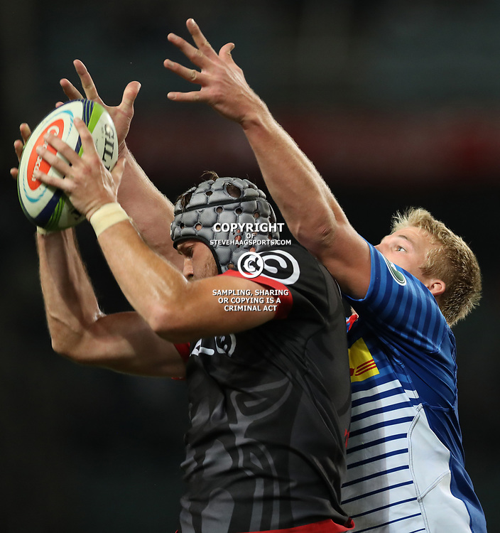DURBAN, SOUTH AFRICA - MAY 27: Stephan Lewies of the Cell C Sharks out jumps Pieter-Steph du Toit of the DHL Stormers during the Super Rugby match between Cell C Sharks and DHL Stormers at Growthpoint Kings Park on May 27, 2017 in Durban, South Africa. (Photo by Steve Haag/Gallo Images)