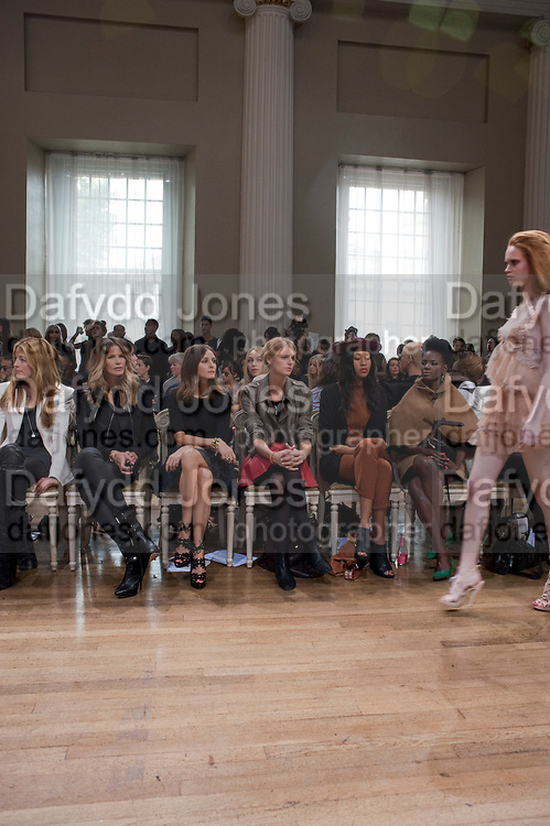 JOSEPHINE DE LA BAUME; CAT DEELEY; ELLE MACPHERSON; OLIVIA PALERMO; JACQUETTA WHEELER; V.V.BROWN;SIMGAI SHONIWA,  , Julian Macdonald fashion show. Banqueting House. London. 19 September 2010. -DO NOT ARCHIVE-© Copyright Photograph by Dafydd Jones. 248 Clapham Rd. London SW9 0PZ. Tel 0207 820 0771. www.dafjones.com.