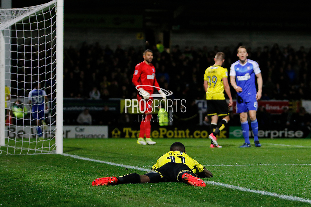 Burton Albion midfielder Lloyd Dyer (11) reacts to a chance going wide during the EFL Sky Bet Championship match between Burton Albion and Ipswich Town at the Pirelli Stadium, Burton upon Trent, England on 14 April 2017. Photo by Richard Holmes.