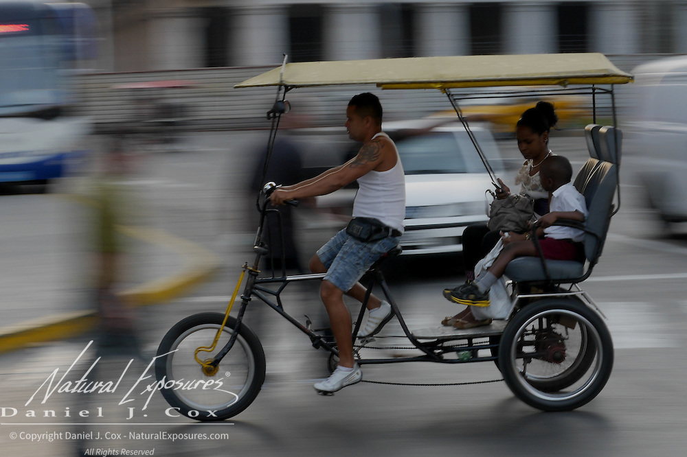 A tricycle taxi on the streets of Havana, Cuba.