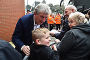 Crystal Palace manager Roy Hodgson having a picture with a young fan on arrival at the Vitality Stadium before the Premier League match between Bournemouth and Crystal Palace at the Vitality Stadium, Bournemouth, England on 7 April 2018. Picture by Graham Hunt.