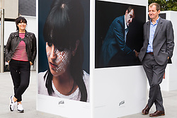 Anna Richardson and Alastair Campbell pose with their portraits at Let's Talk, a photography exhibition created in partnership with Mental Health UK At Regent's Place in London. It is designed to inspire open and honest conversations about mental health by depicting each subjects' inner battles on their faces. . Regents Place, Euston Road, London, October 08 2018.