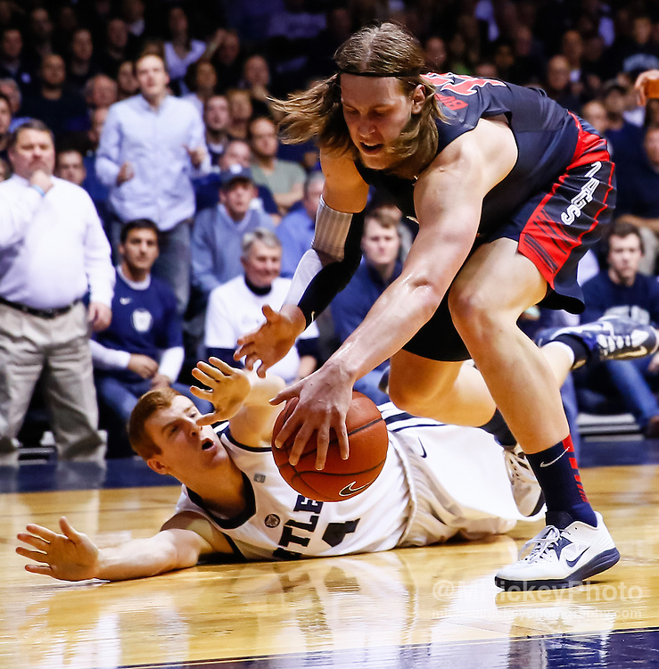 INDIANAPOLIS, IN - JANUARY 19: Erik Fromm #4 of the Butler Bulldogs and Kelly Olynyk #13 of the Gonzaga Bulldogs battle for a loose ball at Hinkle Fieldhouse on January 19, 2013 in Indianapolis, Indiana. (Photo by Michael Hickey/Getty Images) *** Local Caption *** Erik Fromm; Kelly Olynyk