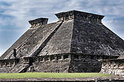 Mesoamerica Pyramid Building 5 at the pre-Columbian archeological complex of El Tajin in Tajin, Veracruz, Mexico. El Tajín flourished from 600 to 1200 CE and during this time numerous temples, palaces, ballcourts, and pyramids were built by the Totonac people and is one of the largest and most important cities of the Classic era of Mesoamerica.