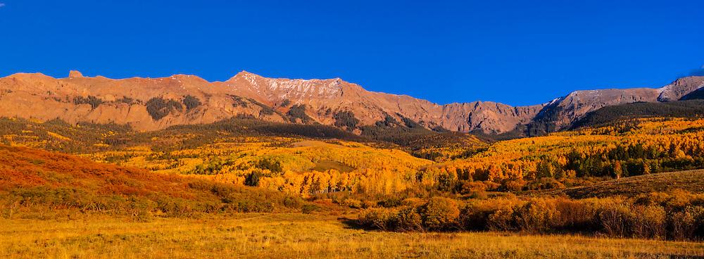Panoramic view, San Juan Mountains along Last Dollar Road between Ridgway and Telluride, Colorado USA.