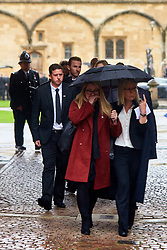 © Licensed to London News Pictures. 14/10/2019. Oxford, UK.  Funeral of PC Andrew Harper in Christ Church, Oxford. In this picture: Mourners leave after the service. Photo credit: Cliff Hide/LNP