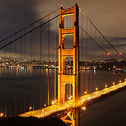 The Golden Gate Bridge and San Francisco are seen just before dawn from Battery Spencer in the Marin Headlands.