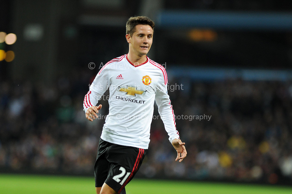 Ander Herrera of Manchester Utd looks on.  Barclays Premier League match, Aston Villa v Manchester Utd at Villa Park in Birmingham, Midlands on Friday 14th August  2015.<br /> pic by Andrew Orchard, Andrew Orchard sports photography.