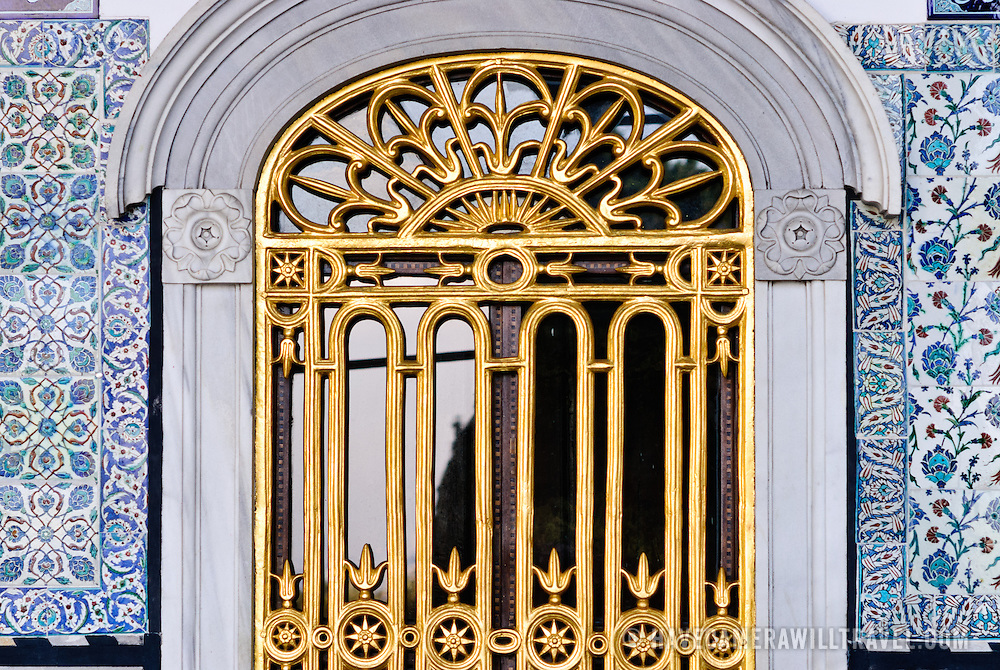 A gilt window grill in the Harem of the Topkapi Palace in Istanbul