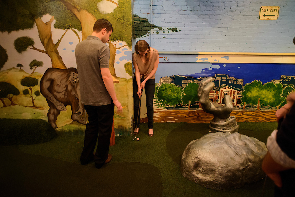 Photo by Matt Roth.Assignment ID: 10137081A..at H Street Country Club where patrons can play mini golf on a D.C. themed course while they grab a drink in Washington, D.C. on Saturday, January 12, 2013...H Street, N.E, in Washington D.C. was recently ranked sixth on Forbes magazine's list of the nation's best hipster neighborhoods.