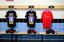 Henry Slade of Exeter Chiefs shirt in the changing room prior to kick off with the Restart RPA shirt prior to kick off - Mandatory by-line: Ryan Hiscott/JMP - 14/04/2019 - RUGBY - Sandy Park - Exeter, England - Exeter Chiefs v Wasps - Gallagher Premiership Rugby