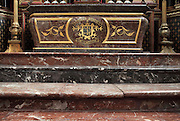 Marble steps leading up to the High Altar, made 1610 in Italian Renaissance style, donated by Marie de Medici, wife of Henri IV, on the birth of Louis XIII, in the Basilica of Liesse Notre Dame, built 1134 in Flamboyant Gothic style by the Chevaliers d'Eppes, then rebuilt in 1384 and enlarged in 1480 and again in the 19th century, Liesse-Notre-Dame, Laon, Picardy, France. Pilgrims flock here to worship the Black Virgin, based on Ismeria, the Soudanese daughter of the sultan of Cairo El-Afdhal, who saved the lives of French knights during the Crusades, converted to christianity and married Robert d'Eppes, son of Guillaume II of France. Picture by Manuel Cohen