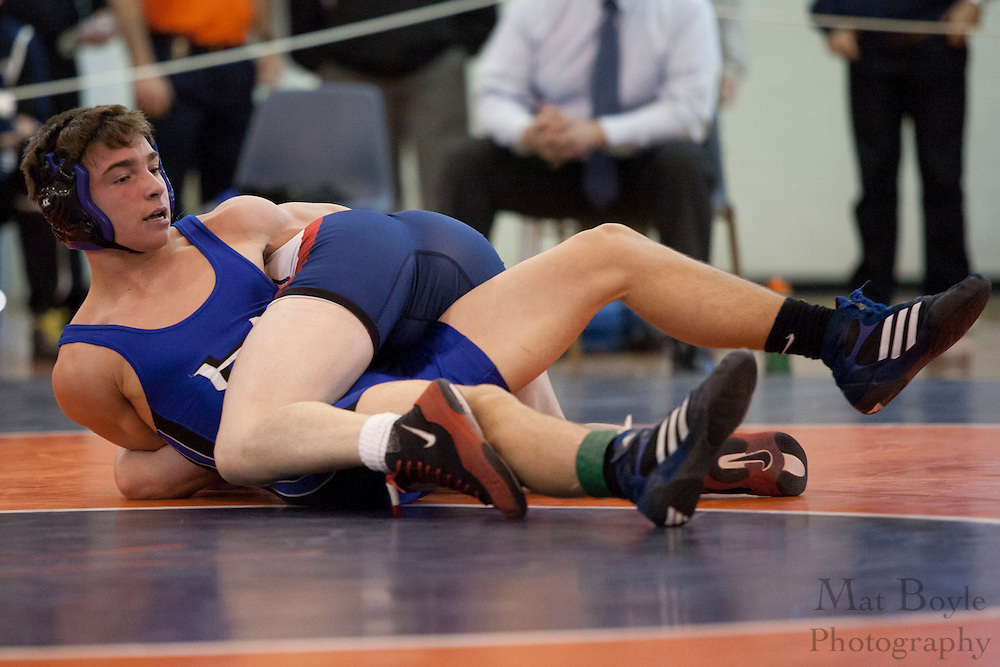 Matt Salera of Washington Township High School defeats by major decision Justin Fucetola of Hammonton High School in the District 30 Wrestling Semi-finals in the 160lb weight class at Overbrook High School on February 18, 2012. (photo / Mat Boyle)