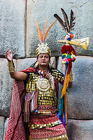 Cuzco, Peru - July 13, 2013: man disguised as Inca warrior in the peruvian Andes at Cuzco Peru on july 13th, 2013