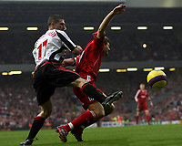 Photo: Paul Thomas.<br /> Liverpool v Sheffield United. The Barclays Premiership. 24/02/2007.<br /> <br /> Steven Gerrard (R) of Liverpool is fouled in the box by Nick Montgomery.