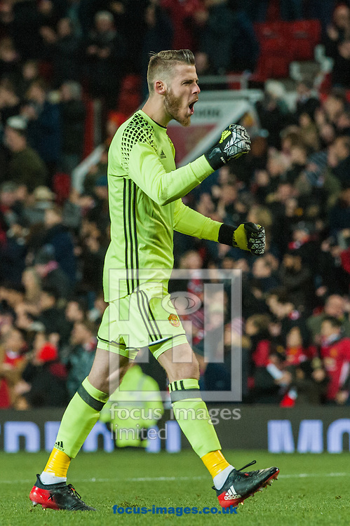Manchester United goalkeeper David De Gea celebrates Marouane Fellaini's goal during the first leg of the EFL Cup Semi-final at Old Trafford, Manchester<br /> Picture by Matt Wilkinson/Focus Images Ltd 07814 960751<br /> 10/01/2017