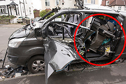 """© Licensed to London News Pictures. 28/04/2017; Bristol, UK. Red circle highlighting a gas BBQ in the rear of the van, believed to have been carrying the gas canister which exploded. It is believed the driver was going away for a """"rugby weekend"""" and had earlier loaded a gas barbeque into the van. Damage to a van caused by an exploding gas cylinder in the Redland area of Bristol this morning. A man was taken to hospital to be treated for his injuries after an explosion in a van. Photo credit : Simon Chapman/LNP"""
