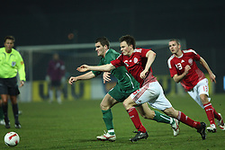 Dejan Rusic (9) of Slovenia tussels fot the ball with William Kvist of Denmark during the UEFA Friendly match between national teams of Slovenia and Denmark at the Stadium on February 6, 2008 in Nova Gorica, Slovenia. Slovenia lost 2:1. (Photo by Vid Ponikvar / Sportal Images).