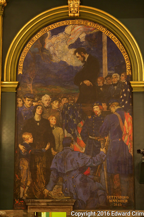 "Part of Violet Oakley's mural series ""The Preservation of the Union"", Lincoln at Gettysburg, 1863, on the north wall of the Pennsylvania capitol's Senate chamber in Harrisburg."