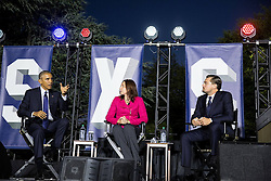 October 3, 2016 - Washington, DC, United States of America - U.S President Barack Obama joins Leonardo DiCaprio and Dr. Katharine Hayhoe for a discussion on climate change during the South by South Lawn festival on the South Lawn of the White House October 3, 2016 in Washington, DC. The event is inspired by the South by Southwest festival and includes arts, film, entertainment and technology. (Credit Image: © Pete Souza/Planet Pix via ZUMA Wire)