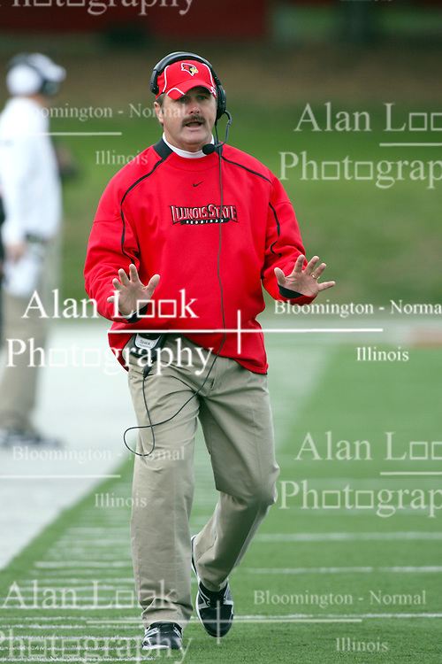 02 October 2010:  Coach Brock Spack during an NCAA football game where the Southern Illinois Salukis beat the Illinois State Redbirds 3817 at Hancock Stadium in Normal Illinois.