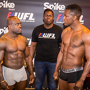 NLD/Almere/20171028 - Weging + staredown Spike presents: WFL - Final 16, Melvin Manhoef en Remy Bonjansky