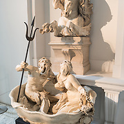 A sculpted fountain by Gabriel Grupello (1644-1730) titled Fontaine Murale aux Dieux Marins (1675/76) on display at the Royal Museums of Fine Arts in Belgium (in French, Musées royaux des Beaux-Arts de Belgique), one of the most famous museums in Belgium. The complex consists of several museums, including Ancient Art Museum (XV - XVII century), the Modern Art Museum (XIX ­ XX century), the Wiertz Museum, the Meunier Museum and the Museé Magritte Museum.