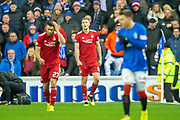 Sam Cosgrove (#16) of Aberdeen FC walks off after being shown a red card during the Ladbrokes Scottish Premiership match between Rangers and Aberdeen at Ibrox, Glasgow, Scotland on 5 December 2018.