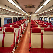 Seats remain empty on a passenger train due to the Coronavirus (Covid-19) outbreak in Manhattan, New York on Monday, May 11, 2020.  Nonessential businesses have been closed and large gatherings have been banned across the state since March 22 under an emergency order issued by Governor Cuomo that is set to expire on Friday. (Alex Menendez via AP)