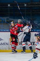 28.01.2018, Ice Rink, Znojmo, CZE, EBEL, HC Orli Znojmo vs KHL Medvescak Zagreb, 44. Runde, im Bild v.l. Petr Mrazek (HC Orli Znojmo) Adam Deutsch (KHL Medvescak Zagreb) // during the Erste Bank Icehockey League 44th round match between HC Orli Znojmo and KHL Medvescak Zagreb at the Ice Rink in Znojmo, Czech Republic on 2018/01/28. EXPA Pictures © 2018, PhotoCredit: EXPA/ Rostislav Pfeffer