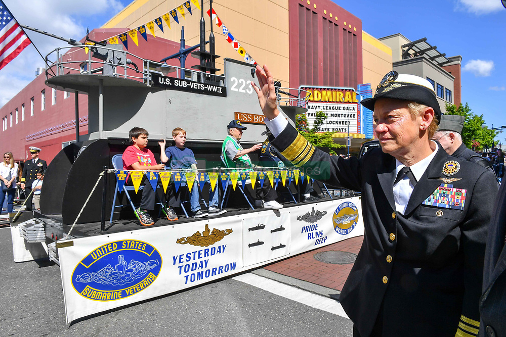 BREMERTON, Wash. (May 20, 2017) Vice Adm. Nora Tyson, commander, U.S. 3rd Fleet, waves to veterans during the 69th annual Bremerton Armed Forces Day Parade in Bremerton, Wash.  During her visit to the Pacific Northwest, Tyson also visited Naval Base Kitsap and spoke with Sailors at various all hands calls. Bremerton Armed Forces Day Parade is the largest and longest running Armed Forces Day parade in the nation. (U.S. Navy photo by Mass Communication Specialist 3rd Class Charles D. Gaddis IV/Released)170520-N-EC099-224 <br /> Join the conversation:<br /> http://www.navy.mil/viewGallery.asp<br /> http://www.facebook.com/USNavy<br /> http://www.twitter.com/USNavy<br /> http://navylive.dodlive.mil<br /> http://pinterest.com<br /> https://plus.google.com