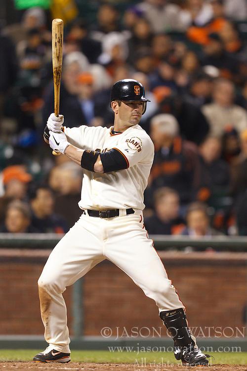 May 11, 2011; San Francisco, CA, USA;  San Francisco Giants center fielder Aaron Rowand (33) at bat against the Arizona Diamondbacks during the sixth inning at AT&T Park.  San Francisco defeated Arizona 4-3.