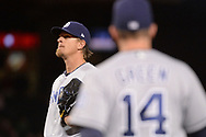 PHOENIX, AZ - APRIL 27:  Jered Weaver #27 of the San Diego Padres reacts as manager Andy Green #14 walks to the mound to relieve him in the sixth inning against the Arizona Diamondbacks at Chase Field on April 27, 2017 in Phoenix, Arizona.  (Photo by Jennifer Stewart/Getty Images)