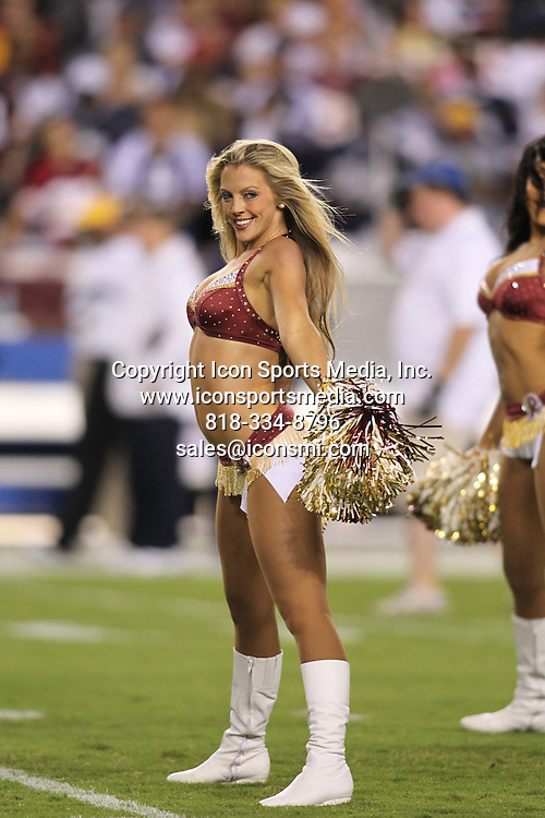 12 September 2010 :  Washington Redskins cheerleader performs during game against the Dallas Cowboys.  The Redskins defeated the Cowboys 13-7 at Fed Ex Field in Landover, Md.