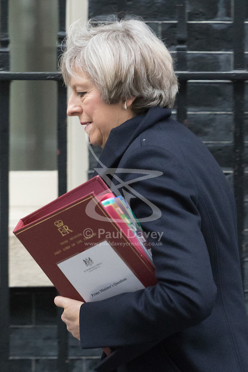 Downing Street, London, February 8th 2017. British Prime Minister Theresa May leaves 10 Downing Street for Prime Minister's Question Time in the House of Commons.