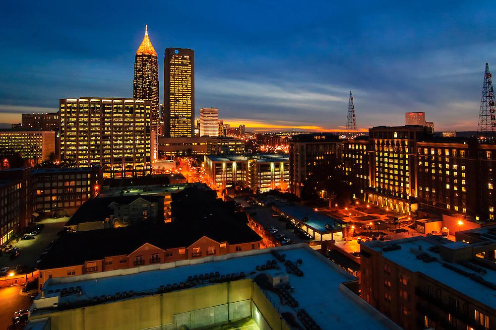 Atlanta skyline, facing south at dusk.