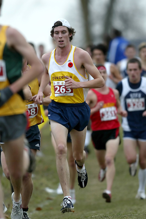 (Kingston, Ontario -- 14 Nov 2009)  RYAN NOEL-HODGE of the Concordia University runs to 27 place at the  2009 Canadian Interuniversity Sport CIS Cross Country Championships at Forth Henry Hill in Kingston Ontario. Photograph copyright Sean Burges / Mundo Sport Images, 2009.