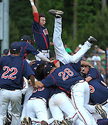 Milton celebrates their 2-1 win over Roswell in their GHSA AAAAAA State Baseball Championship game, Monday, May 27, 2013, in Milton, Ga.   David Tulis/dtulis@gmail.com
