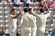 Wicket - James Anderson of England celebrates taking the wicket of Cheteshwar Pujara of India during the 4th day of the 4th SpecSavers International Test Match 2018 match between England and India at the Ageas Bowl, Southampton, United Kingdom on 2 September 2018.