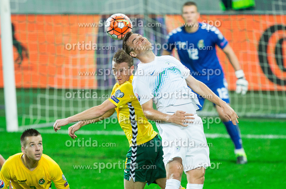 Vaidas Slavickas of Lithuania vs Nejc Pecnik of Slovenia during the EURO 2016 Qualifier Group E match between Slovenia and Lithuania, on October 9, 2015 in SRC Stozice, Ljubljana Slovenia. Photo by Vid Ponikvar / Sportida