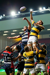 Ian Evans of Bristol Rugby competes at a lineout - Rogan Thomson/JMP - 14/10/2016 - RUGBY UNION - Ashton Gate Stadium - Bristol, England - Bristol Rugby v Saracens - EPCR Challenge Cup.