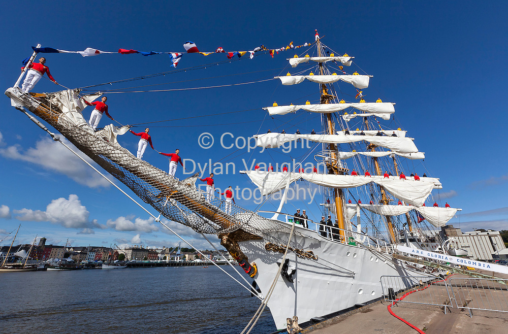 """30/6/2011.no charge for repro.Crew pictured """"going above"""" on board Gloria from Colombia at the Tall Ships Races in Waterford yesterday..Picture Dylan Vaughan"""