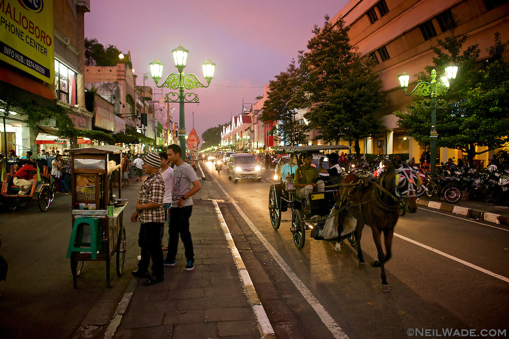 The busy market street of Malioboro, Yogyakarta, Indonesia.
