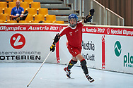 Graz, Austria - 2017 March 23: Michal Lenkiewicz from SO Poland celebrates his goal against SO St. Lucia in Third Place Floor Hockey Match while Special Olympics World Winter Games Austria 2017 at Convention Centre Messe Graz on March 23, 2017 in Graz, Austria.<br /> <br /> Mandatory credit:<br /> Photo by © Adam Nurkiewicz / Mediasport<br /> <br /> Adam Nurkiewicz declares that he has no rights to the image of people at the photographs of his authorship.<br /> <br /> Picture also available in RAW (NEF) or TIFF format on special request.<br /> <br /> Any editorial, commercial or promotional use requires written permission from the author of image.<br /> <br /> Image can be used in the press when the method of use and the signature does not hurt people on the picture.